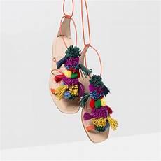 pompom leather sandals ledersandalen schuhe sandalen