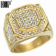 Bakeey Bling Rhinestone Stainless Steel by Hip Hop Micro Pave Rhinestone Iced Out Bling Hexagonal