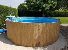 stahlwandpool mit holz verkleiden frame pool mit bambusmatten verkleiden geht ganz einfach