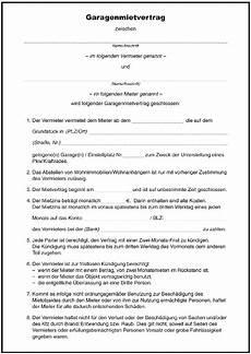 Mietvertrag Garage Muster by Mietvertrag Garage Formulare Gratis