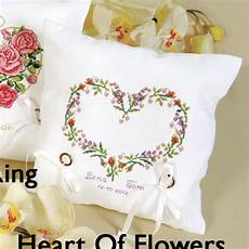 wedding ring pillow cross stitch kit heart of flowers ring pillow cross stitch needlepoint stitchery and embroidery kits