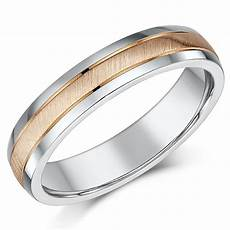 4mm 9ct rose gold silver matt polished two colour wedding ring band silver 9ct gold two