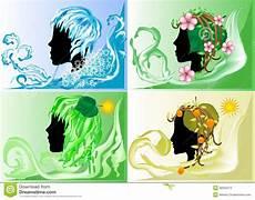 Vier Jahreszeiten Malvorlagen Spielen Schattenbild Vier Jahreszeiten Stockbild Bild