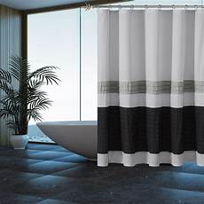 vorhang grau blau gray shower curtain with pleated silver and black pintuck