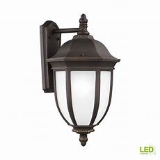 sea gull lighting galvyn 1 light large bronze outdoor wall lantern with led bulb