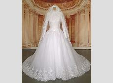 Real Pictures Long Sleeve Hijab Muslim Wedding Dress with