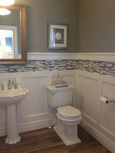 wainscoting ideas bathroom white board and batten wainscot with glass tile inlay