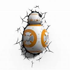 star wars bb8 droid 3d deco light led wall light cordless menkind
