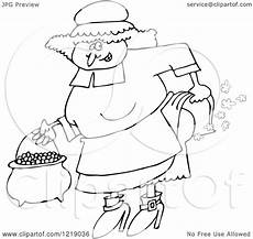 clipart of an outlined pilgrim farting royalty