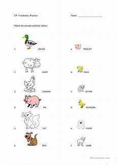 baby animals names worksheet farm animals and their babies worksheet free esl