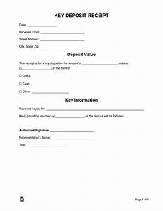 free key deposit receipt template word pdf eforms free fillable forms