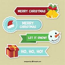 four merry christmas stickers vector free download