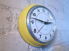 Retro Vintage Classic Disc Wall Clock by Yellow Westclox Electric Wall Clock Vintage Retro Metal