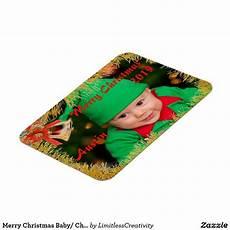 merry christmas baby child custom photo name magnet zazzle com merry christmas baby