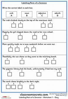 worksheets ks2 parts 18802 labelling parts of a sentence ks2 spag test practice classroom secrets