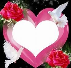 Montage Photo Un Coeur Avec 2 Colombes Et 2 Roses 1 Photo
