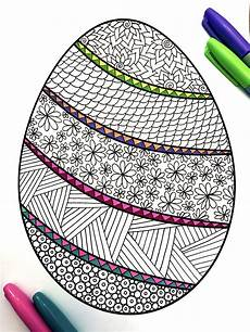 Malvorlage Ostern Grundschule Banded Easter Egg Pdf Zentangle Coloring Page Ostern