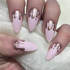pink and rose gold drip nails rose gold nails gold nail
