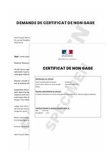 certificat de non gage demande de certificat de non gage startdoc