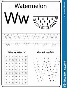 writing letter w worksheet writing a z alphabet exercises game for kids stock vector