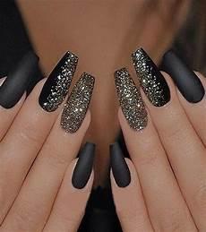 matte black with gold glitter nails art in 2019 primemod