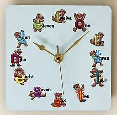 square wall clock for children with teddy letters