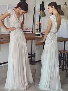vintage lace beaded wedding dresses 2017 simple a line v