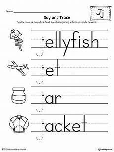 phonics worksheets letter j 24389 say and trace letter j beginning sound words worksheet alphabet writing practice j words