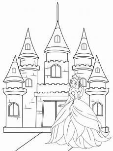 Ausmalbild Prinzessin Schloss Kostenlose Malvorlage Prinzessin Prinzessin Vor Ihrem