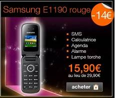 vente flash telephone portable sans abonnement 15 90 euros le t 233 l 233 phone samsung e1190 sans engagement