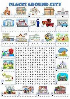 places around town worksheets 16029 places in a city crossword puzzle exercise worksheet teaching ideas printable board