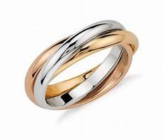 trio rolling ring in 18k tri color gold blue nile