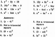 factoring perfect square trinomials worksheet the best