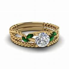 cut twist rope design diamond bridal ring sets with