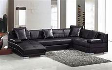 Black Leather Modern Sectional Sofa 3334 St Petersburg