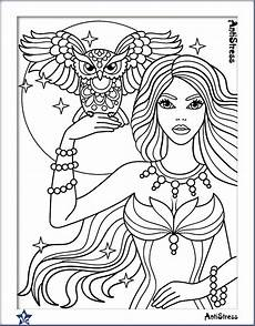owl and girl coloring page beautiful women coloring