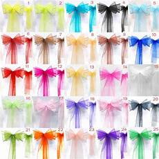 25pcs lot new organza chair sashes bow wedding and events