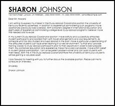 study abroad coordinator cover letter sle cover letter templates exles