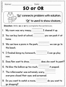 conjunctions l 1 1 g so or but and for because 1st grade common core practice sheets