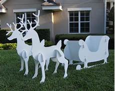 Reindeer Decorations Outdoor by Santa Sleigh Reindeer Set Outdoor Yard Decor 2