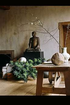 An Zen Styled Living Room With Rustic Wood