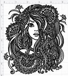 mandala style svg pdf eps dxf studio 3 cut files - Mandala Frau