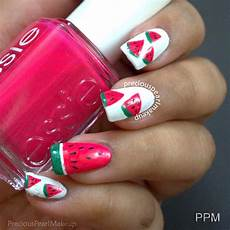 preciouspearlmakeup watermelon nails and tutorial