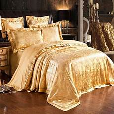 gold jacquard silk quilt duvet cover king queen embroidered satin bedclothes bedding bed