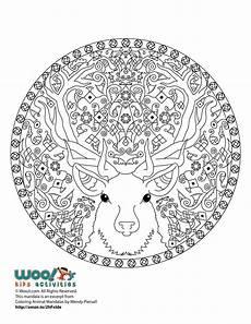 reindeer mandala coloring page woo jr