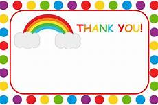 rainbow thank you card template rainbow thank you card printable by craftycue on etsy