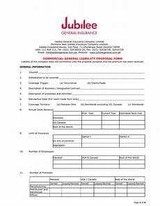 general insurance application form commercial general liability form