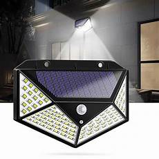 100 led solar powered 600lm pir motion sensor wall light outdoor garden l