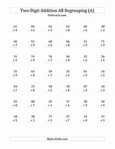 addition subtraction and multiplication worksheets for grade 2 4851 2 digit plus 1 digit addition with all regrouping a addition worksheets math worksheets