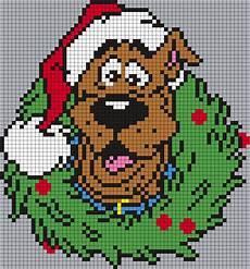 scooby doo christmas wreath square grid perler bead pattern bead sprites holidays fuse